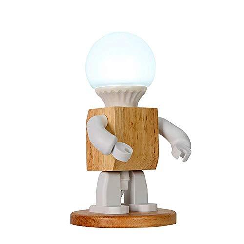 HHJJ Lámpara de Mesa - lámpara de Mesa de Forma de Robot Lámparas de mesita de Noche de Madera Natural - Nursery, Estudio, Oficina, Trabajo, habitación de niños, Regalos Ideales lámpara-30947g7a6x