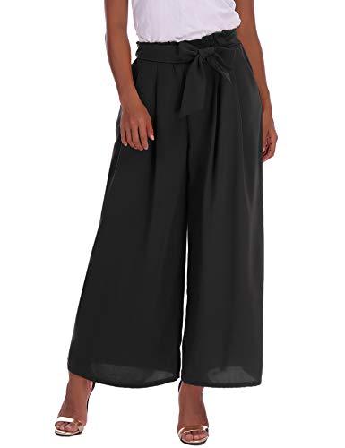 Abollria Pantalon Large Femme Palazzo Jambes Large Fluide Chic Evasé Elastiqué Taille Haute Décontracté en Mousseline de Soie Grandes Tailles avec Ceinture Amincissant Casual - Noir - L
