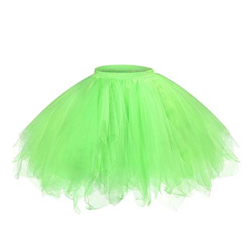 Xmiral Damen Mini Tutu Rock Elastische Taille Prinzessin Petticoat Tanzender Rock Mädchen Chiffon Sommer Unterrock(a Grün,XXL)