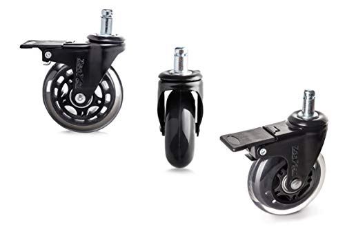 5 Piece 3'' Heavy Duty Quiet Swivel Replacement Office Chair Caster Wheels with Brakes/Locks -Roller Blade Style - Soft PU Rubber - Protect + Works on Hardwood Tile LOW PILE CARPET- NOT FOR IKEA CHAIR