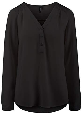 VERO MODA Tulip Damen Tunika Bluse Langarm Mit V-Ausschnitt, Größe:M, Farbe:Black