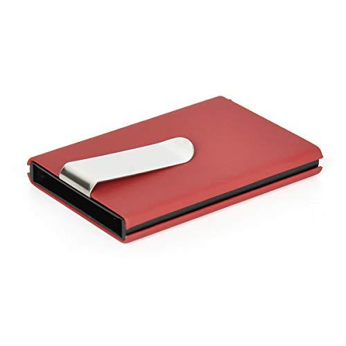 Creditcardhouder RFID-blokkering, RVS kaarthouder, metalen slanke portemonnee met geldclip Rood