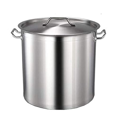 40 litros Olla común, para hostelería/hogar, Olla Profunda de Acero Inoxidable 201 Espesada con Tapa para Estufa de Gas/Cocina de inducción (24-108L) (Tamaño: 40L)