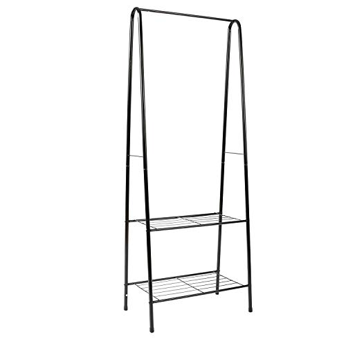 """Homebi Garment Rack Metal Clothing Rack Coat Organizer Laundry Closet Storage Entrway Shelving Unit with Hanger and 2-Tier Durable Shelf for Shoes Clothes Storage in Black, 24.0""""Wx15.2""""Dx63""""H"""