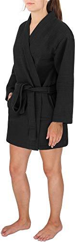 Damen Morgenmantel Baumwoll-Kimono mit Waffelpique - kurzer Waffelbademantel - Öko Tex 100 - Premium Qualität Farbe Schwarz Größe L