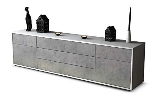 Stil.Zeit TV Schrank Lowboard Benita, Korpus in Weiss Matt/Front in morderner Beton Optik (180x49x35cm), mit Push-to-Open Technik und Hochwertigen Leichtlaufschienen, Made in Germany