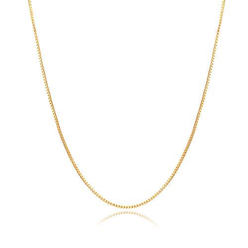 Nocciola - Collana in vero oro 24 carati da 0,8 mm, con ciondolo a forma di brioletta, per uomini e donne