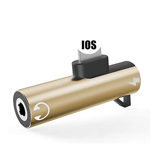 Lector de Tarjetas SD 2 en 1 Auriculares de Audio Dividir Dual Dual Splitter (para iPhone, Conector de Cable AUX de 3,5 mm Jack a Auriculares) (Color : Gold)