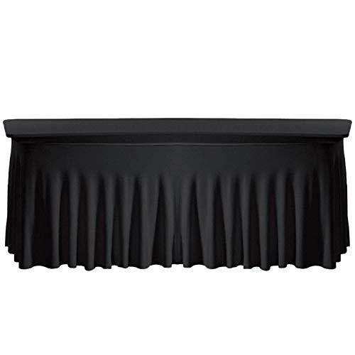 Trimming Shop Tischdecke Spandex Rock Stil Stretch Elastisch Tischtuch für Hochzeit, Bankett Dinner Partys, Kuchen & Buffet Tisch - Schwarz, Rectangle