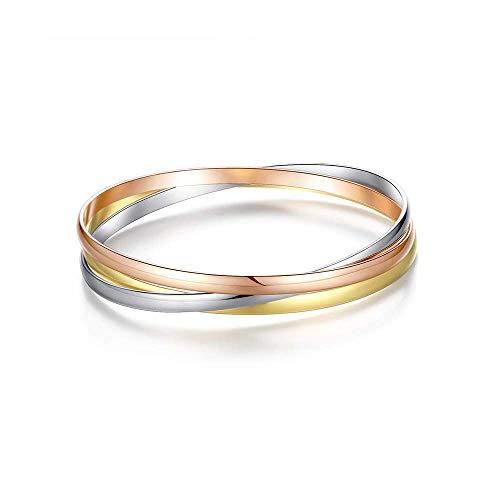 Triplo interconnessi titanio acciaio amore bracciale in oro rosa, argento e oro giallo