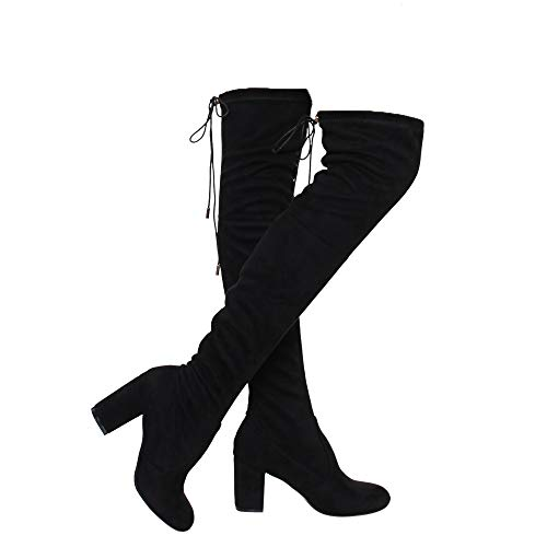 Women's Thigh High Boots Stretchy Drawstring Over The Knee Chunky Block Stiletto Heel Boots Black 10(Run Small. Order Half Size Up)