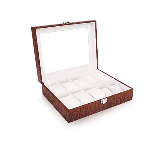 FIONAT Uhrenbox Schmuckkästchen Uhr Schmuck Ming Glas Uhr Mit Schloss Haushalt Schmuck Display Aufbewahrungsbox, Kaffee