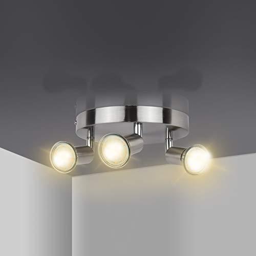 LED Deckenleuchte drehbar, LED Strahler mit 3 drehbaren & schwenkbaren Deckenspots 400LM 4W LED GU10 Birnen Deckenstrahler für Küche, Wohnzimmer, Schlafzimmer Comzler