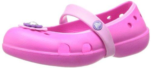 Crocs Keeley Petal Charm Flat, Mädchen Durchgängies Plateau Ballerinas, Pink (Neon Magenta/Carnation), 19/20 EU