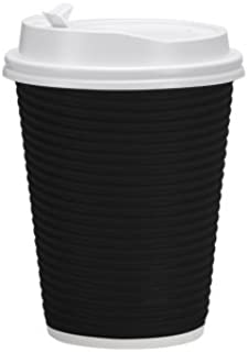 Nicole Home Collection 00743 Premium Disposable Hot Paper Cups with Lids, Double Wall & Ripple Insulation for Heat Protection, 30 Count-12 oz, Size 12 Oz, Black