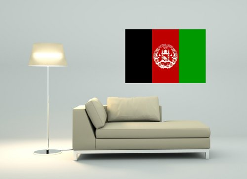 Wandtattoo Sticker Fahne Flagge Aufkleber Afghanistan 80 x 53cm