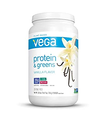 Vega Protein and Greens Vanilla (25 Servings, 26.8 Ounce) - Vegan Plant Based Protein Powder Shake, Gluten Free, Non Dairy, Non Soy, Non GMO