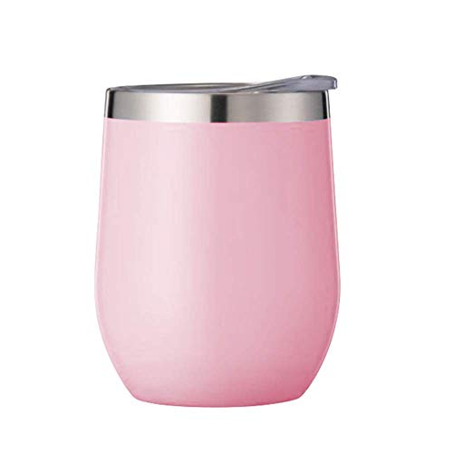 QYYL 360ml Edelstahl Thermoskanne, Vakuumisolierte Reisebecher Eierschale Thermoskanne, Weinglas Eiförmige Süße Doppelschicht Vakuumi solierbecher, Rutschfester Becherboden (pink)