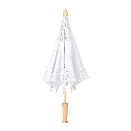 Goick Paraguas de Encaje-Parasol de Bordado de Flores de Encaje Hecho a...
