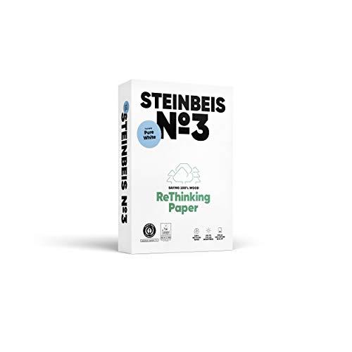 Steinbeis Nr. 3 Purewite, Reprografisches Papier, 100 % recycelt, natürliche Farbe, 80 g, A4, blauer Engel mit 500 Blatt