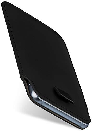 moex Slide Hülle für Sharp Aquos R3 - Hülle zum Reinstecken, Etui Handytasche mit Ausziehhilfe, dünne Handyhülle aus edlem PU Leder - Schwarz