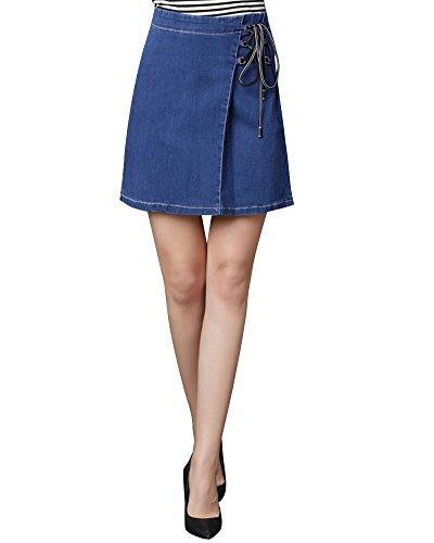Damen Einfarbiger Bandagen Kurz Jeansrock Hohe Taille Retro A Linie Rock Dunkelblau S