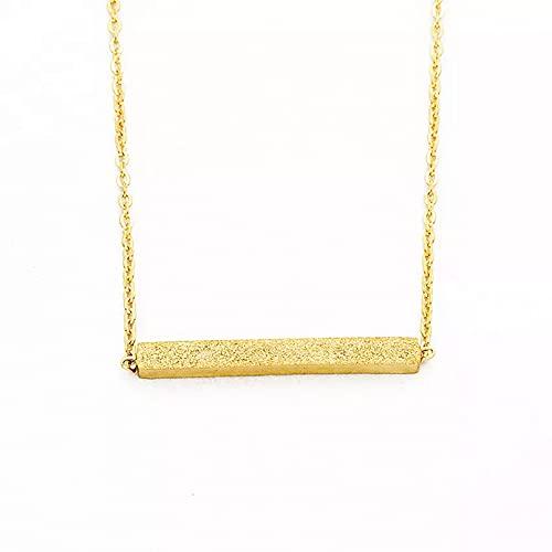 Moda Collar Joyas Gargantilla Collar minimalista de barra larga horizontal para mujer, joyería de acero inoxidable, color dorado, Maxi Collar cuadrado Parejas Fiesta San Valentín Cumpleaños Regalos