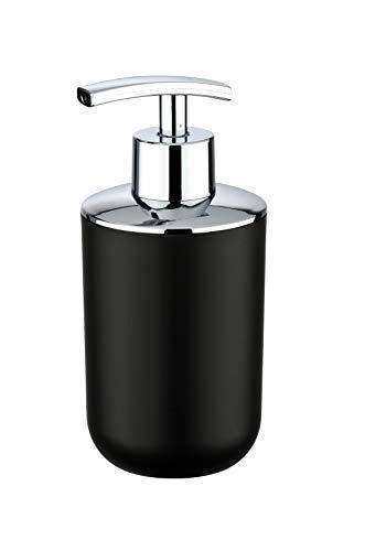 WENKO Distributeur de savon Brasil noir - Distributeur de savon liquide Capacité: 0.32 l, Plastique (TPE), 7.3 x 16.5 x 9 cm, Noir