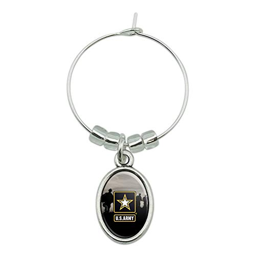 U.S. Army Logo with Soldier Silhouettes Wine Glass Oval Charm Drink Marker