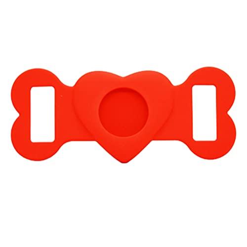 Mini localizador de rastreador GPS inalámbrico, Funda Protectora de Silicona para Mascotas para Apple Airtag GPS Finder Dog Cat Collar Loop, para Apple Locator Tracker Dispositivo Anti-pérdida (Rojo)