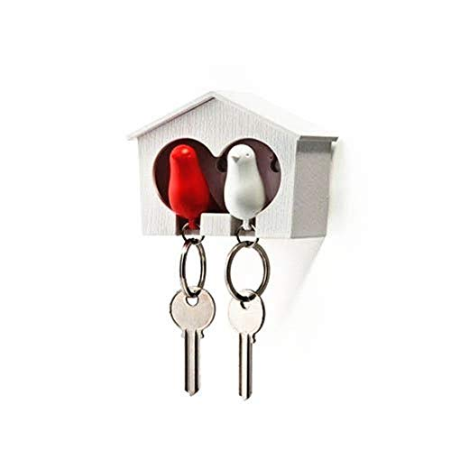 Topways® Duo Sparrow Key Holder Hout vogelhuisje Sleutelhanger & Sparrow Vogel sleutelhanger (witte en rode vogel)