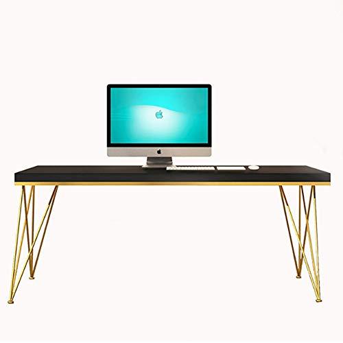 ZJZJ Tisch Computertisch Büro,Konferenztisch Massivholz Table,Geräumig Strapazierfähige Einfacher Aufbau Tabelle Schwarz D. 200x80cm
