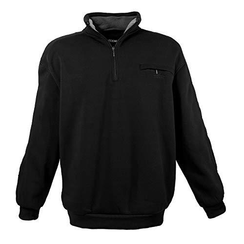 Lavecchia Übergrössen !!! Schickes Sweatshirt mit Troyerkragen und Zipper in 2 Farben LV-2100, Black, 4XL