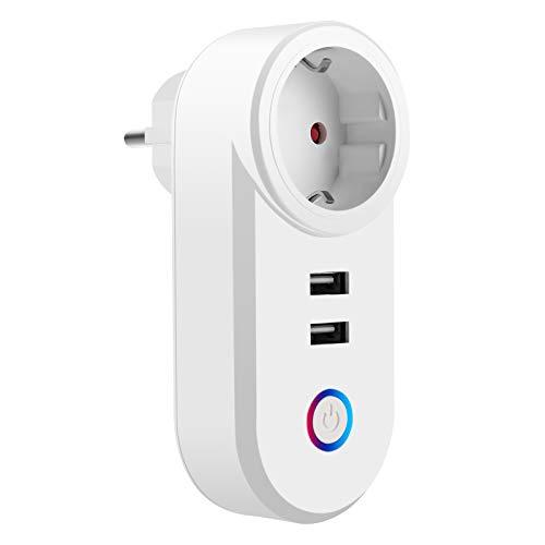 Komake Enchufe Inteligente WiFi, Enchufe de Pared Tres en Uno con 2 USB con Control Remoto y Función de Temporizador Compatible con Alexa, Asistente de Google, Mini Portátil Enchufe USB (16A 3840W)
