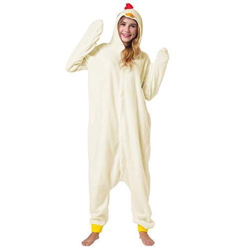Katara 1744 -Hühnchen Kostüm-Anzug Onesie/Jumpsuit Einteiler Body für Erwachsene Damen Herren als Pyjama oder Schlafanzug Unisex - viele Verschiedene Tiere