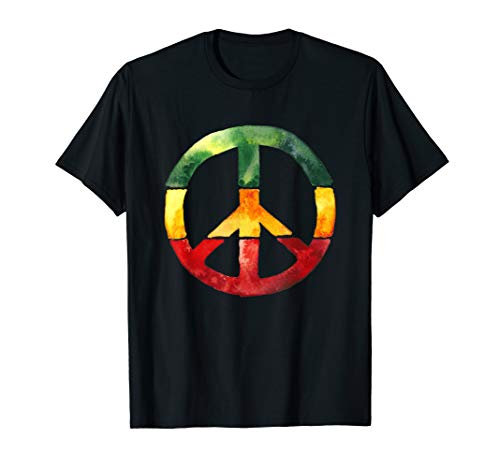 Peace Sign Rasta Reggae Roots One Love T-Shirt Anti Krieg