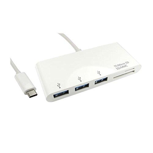 3 poorts USB C Hub + kaartlezer SD/MMC