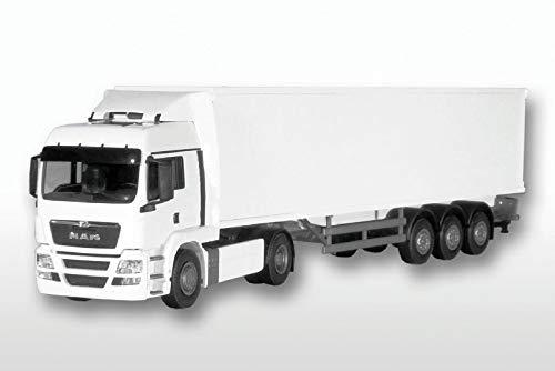 EMEK Camión Man TG-A 2 Ejes con Remolque de Carga Blanco.