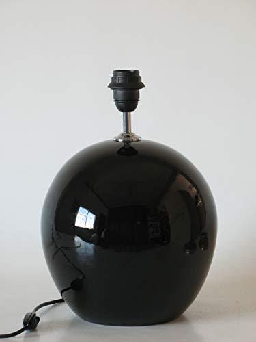 Lámpara de Ceramica Sobremesa Macro Hall Negro de 35 cm Ocre, E27, 60 W - Pie de Lámpara de Cerámica Sobremesa Negro Brillo