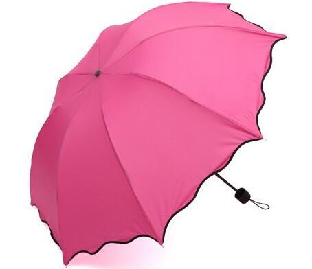TC Rose Couleur Pliant Coupe-Vent Anti UV Effacer/Pluie coréenne Dentelle Princesse Parasol Parapluie Tub-001