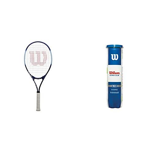 Wilson Raqueta de Tenis, Tour Slam Lite, Jugador recreativo y Principiante, Morado/Azul, WRT30210U3 + Pelotas de Tenis, Ultra Club All Court, para Todas Las Pistas, Juego de 4 Pelotas, WRT116000