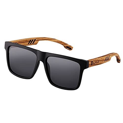 YuanRuiWMS Gafas de sol polarizadas de madera de caoba cuadrada para hombre, lentes de conducción (color: gris)