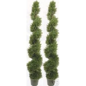 Silk Flower Arrangements Two 6 Foot Outdoor Artificial Cedar Spiral Topiary Trees Potted UV Rated Plants
