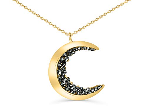 ONDAISY 18K Gold Plated Black Cz Gypsy Planet Small Half Crescent Sailor Luna Moon Pendant Charm 26inch Chain Necklace