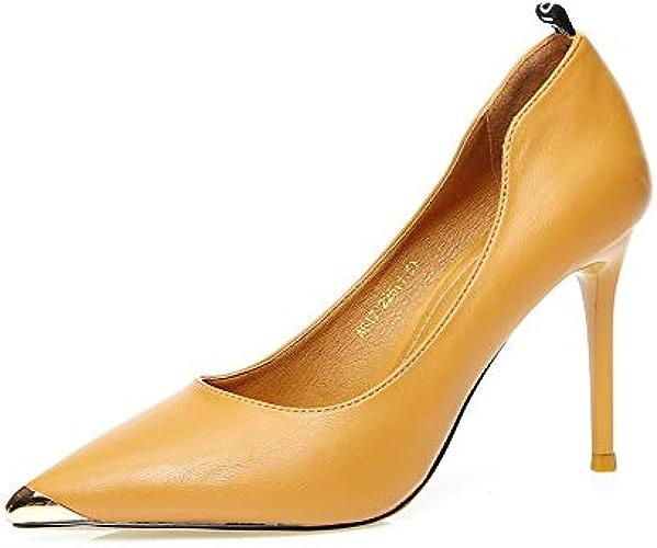 FLYRCX Métal Pointu tempéraHommest Talons Aiguilles Chaussures de Travail de Bureau Chaussures Simples