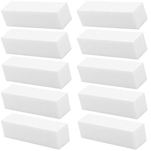 WJUAN 10 Stück Weißer Professioneller Nagelpufferblock Eignen sich Sehr Gut zum Schleifen Fingernägel, Langlebiges Nagelpuffer Schleifblock-Polierflächen Nagelfeile Block Nagelkunst
