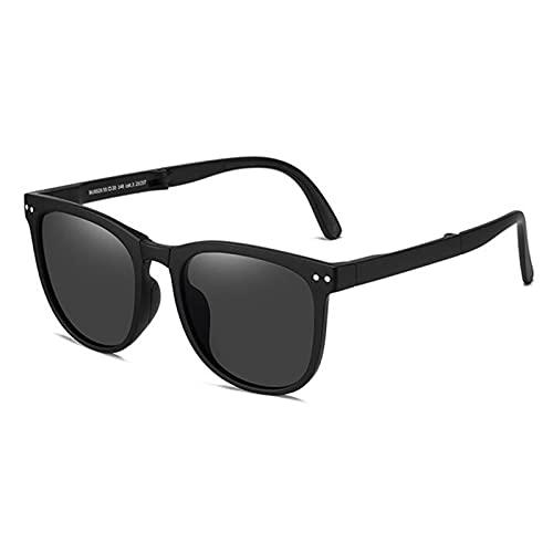 Gafas de Sol Plegables Polarizadas Ultraligeras Ligeras de Tamaño Nuez, Gafas de Sol Plegables para Mujeres, Gafas de Sol para Ciclsismo, Conducir y Hacer Deportes (Color : Black, Size : One Size)