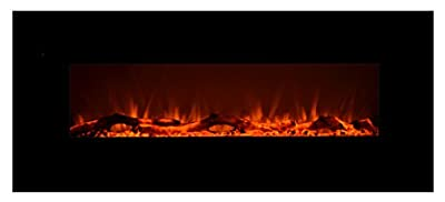 Touchstone 80001 - Onyx Electric Fireplace - (Black) - 50 Inch Wide - On-Wall Hanging - Log & Crystal Included - 5 Flame Settings - Realistic Flame - 1500/750W Timer & Remote