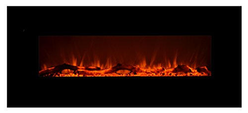 Touchstone 80001 - Onyx Electric Fireplace - (Black) - 50 Inch Wide - Wall Hanging(Not for in-Wall) - Log & Crystal Included - 5 Flame Settings - Realistic Flame - Timer & Remote