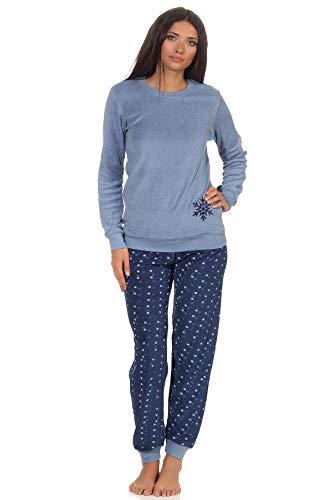Damen Frottee Pyjama Schlafanzug mit Bündchen - Eiskristall Motiv - 291 201 13 900, Farbe:blau, Größe:44/46